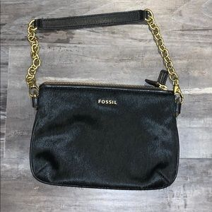 FOSSIL Black Cowhide Purse